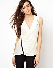 Warehouse Sleeveless Biker Blouse