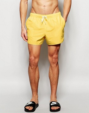 ASOS Runner Swim Shorts In Yellow Short Length