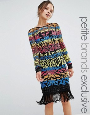 Maya Petite Long Sleeve Multi Colour Sequin Mini With Tassel Hem