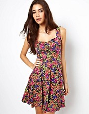 ASOS Skater Dress With Sweetheart Neck In Pansy Floral Print