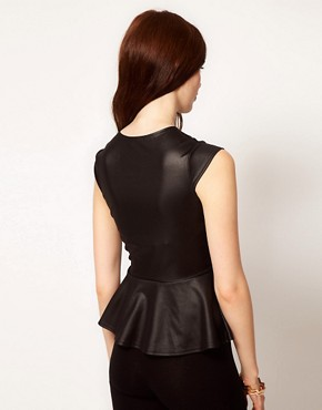 Image 2 ofClub L Leather Look Peplum Top