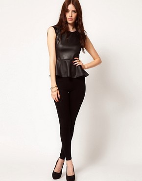 Image 4 ofClub L Leather Look Peplum Top