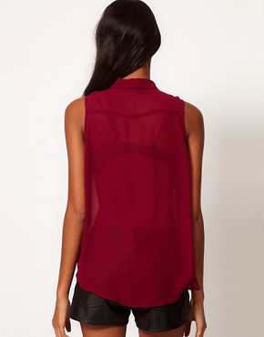 Image 2 ofGlamorous Studded Collar Sleeveless Shirt