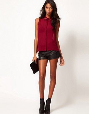 Image 4 ofGlamorous Studded Collar Sleeveless Shirt