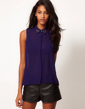 Image 1 ofGlamorous Studded Collar Sleeveless Shirt