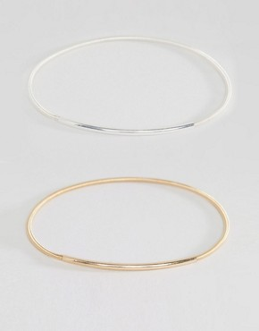 Nylon Gold And Silver Plated Bangle Set
