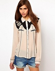 Very By Vero Moda  Westernhemd mit Stickereien