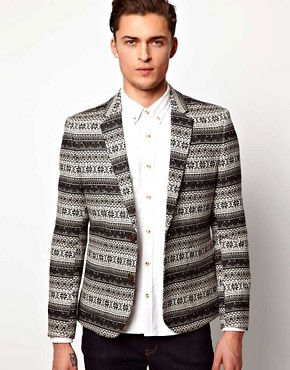 ASOS Slim Fit Blazer in Fairisle Design