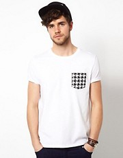 ASOS T-Shirt With Dogtooth Print Pocket