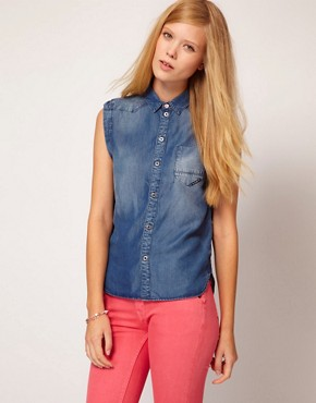 Image 1 ofG-Star Sleeveless Denim Shirt