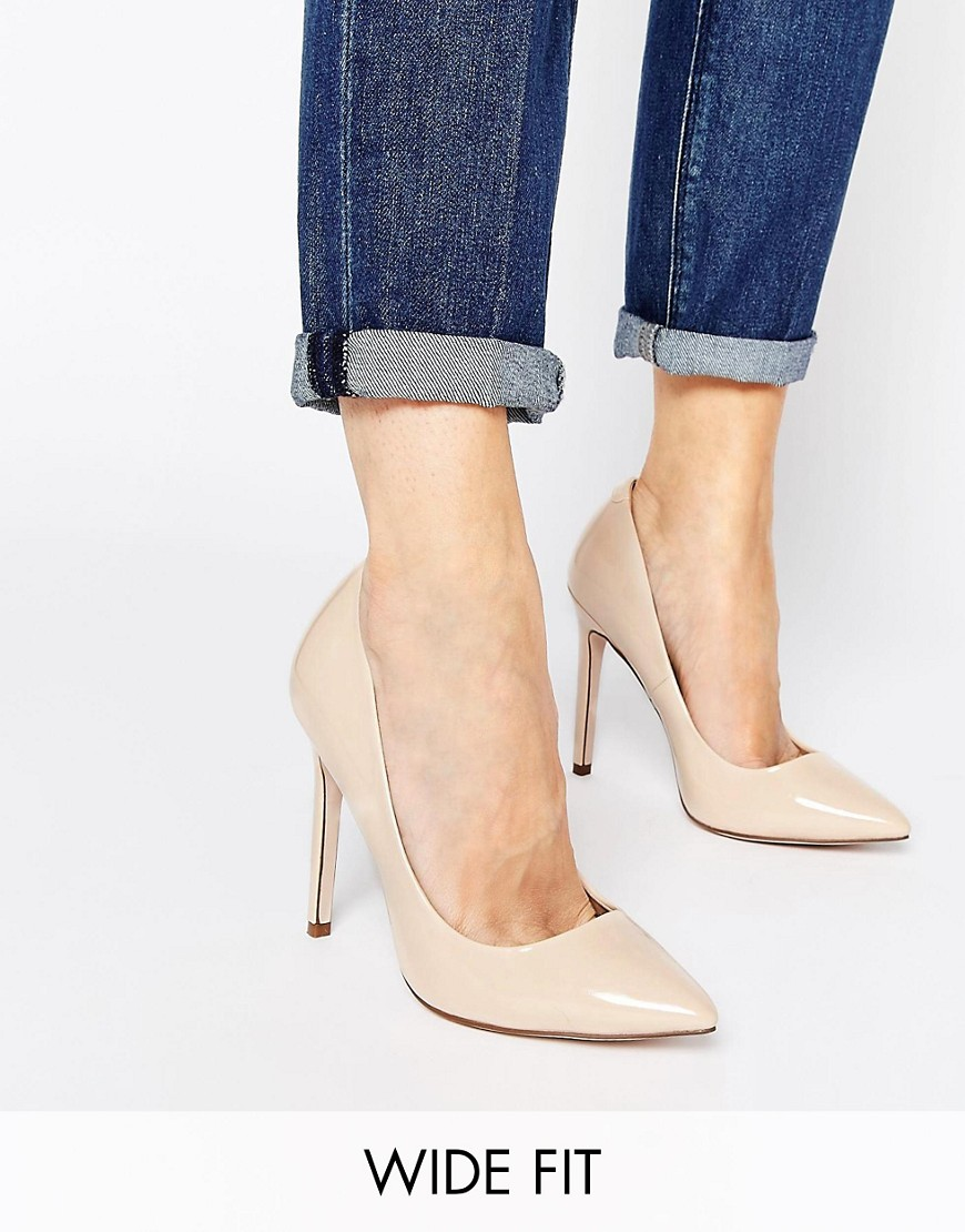 Product photo of Asos playful wide fit pointed heels nude