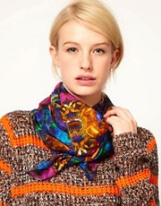 ASOS Jewel Print Silk Scarf