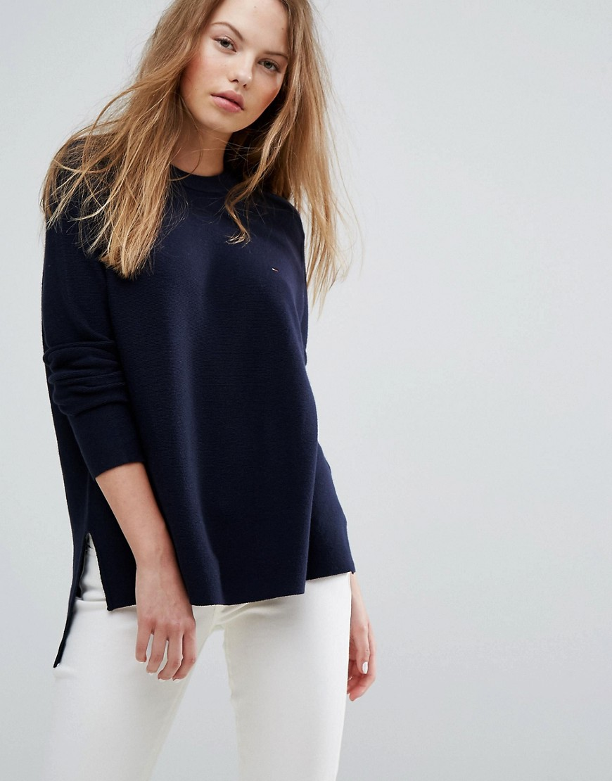 Tommy Hilfiger Denim Dip Hem Knit Jumper - Total eclipse