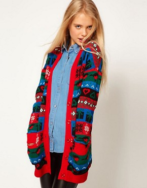 Image 1 ofASOS Christmas Boyfriend Cardigan