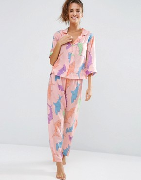 ASOS Shark Traditional Shirt & Long Leg Pyjama Set