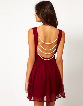 Image 1 ofRare Chiffon Skater Dress With Pearl Back