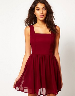 Image 2 ofRare Chiffon Skater Dress With Pearl Back