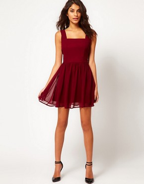 Image 4 ofRare Chiffon Skater Dress With Pearl Back