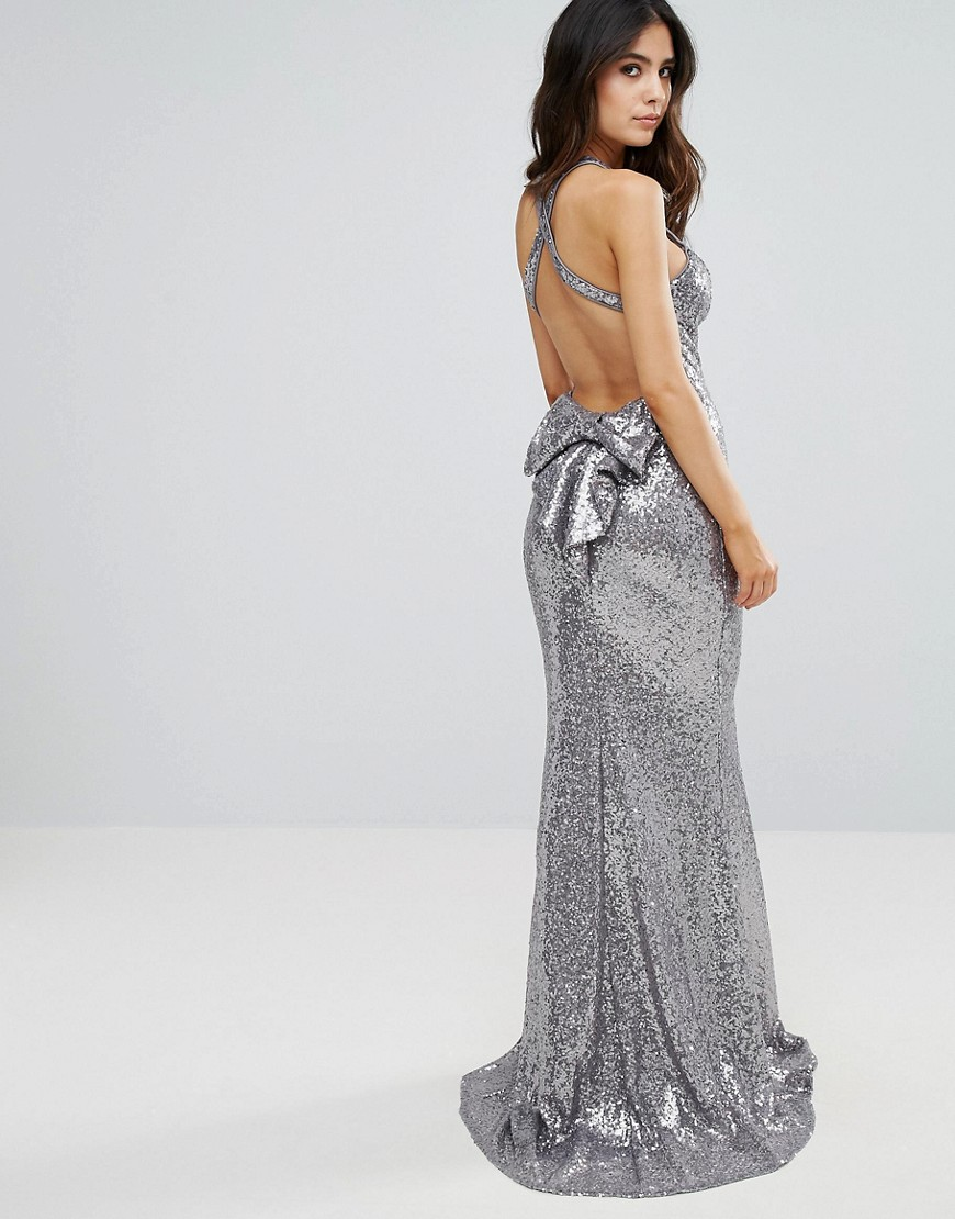 City Goddess Sequin Fishtail Maxi Dress With Bow Back - Silver