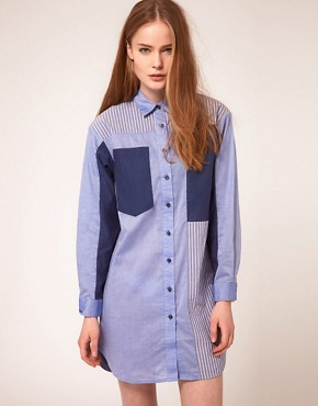 Image 1 ofBaum Und Pferdgarten Shirt Dress With Multi Stripe Panels
