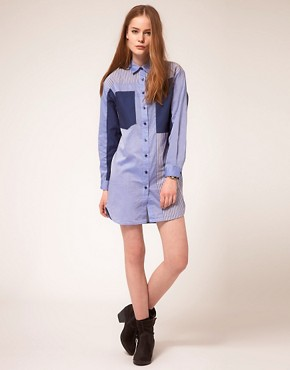 Image 4 ofBaum Und Pferdgarten Shirt Dress With Multi Stripe Panels