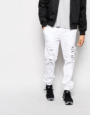 ASOS Slim Joggers In Denim With Extreme Rips