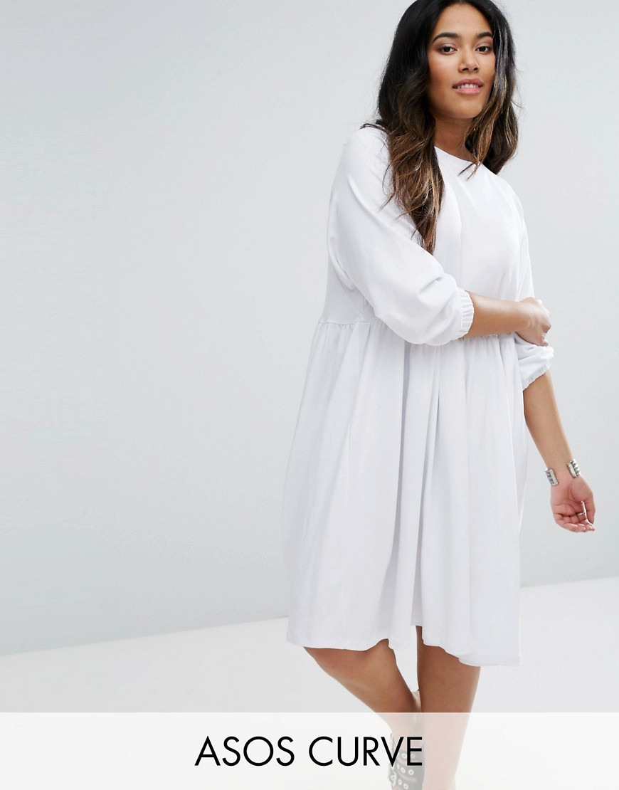 ASOS CURVE Cotton Smock Dress with Elastic Cuff Detail - White