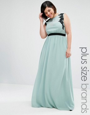 Little Mistress Plus Sleeveless Maxi Dress With Embroidered Detail