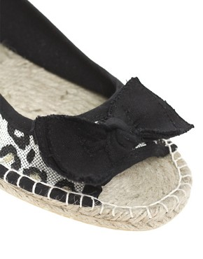 Image 2 ofASOS MARBLE Peep Toe Bow Flat Espadrilles