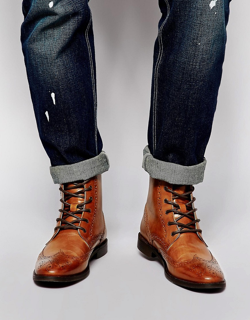 Asos Leather Sole Brogue Boots Image 1 of Asos Brogue Boots