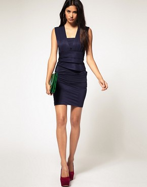 Image 4 ofASOS Pleated Dress with Fitted Pencil Skirt