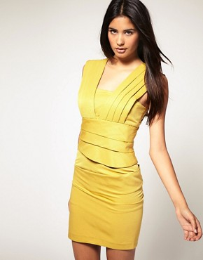 Image 1 ofASOS Pleated Dress with Fitted Pencil Skirt