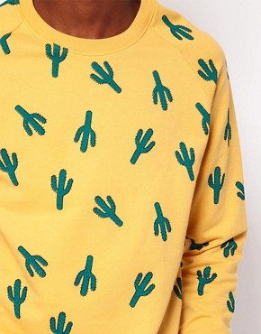 Image 3 ofASOS Sweatshirt With Cactus Print