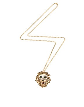 Image 2 ofRiver Island Diamante Lions Head Pendant Necklace