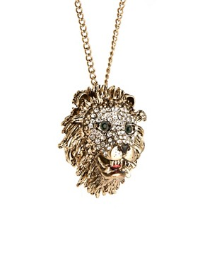Image 4 ofRiver Island Diamante Lions Head Pendant Necklace