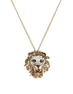 Image 1 ofRiver Island Diamante Lions Head Pendant Necklace