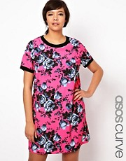 ASOS CURVE Bright Floral T-Shirt Dress