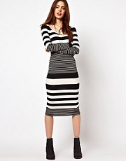 ASOS Midi Body-Conscious Dress In Graduated Stripe Print
