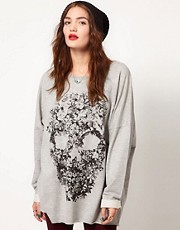 Just Female Flower Skull Oversized Sweatshirt