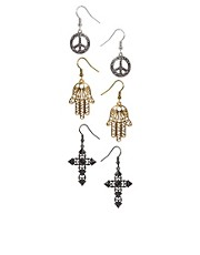 River Island Eclectic Dangle Three Pack Of Earrings
