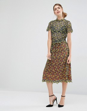 Self Portrait Daisy Guipure Midi Gathered Skirt