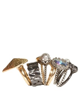 Image 4 ofASOS Punk Multipack Mismatch Rings