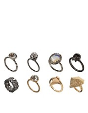 ASOS Punk Multipack Mismatch Rings
