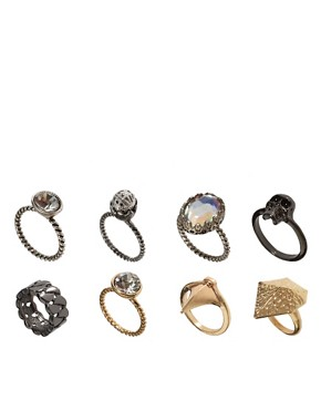 Image 1 ofASOS Punk Multipack Mismatch Rings