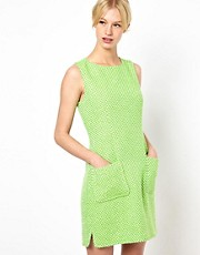 Boutique by Jaeger - Vestito in tweed fluo con tasche applicate