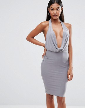 Club L High Neck Bodycon Dress With Cowl Front