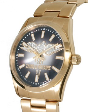 Image 3 ofZadig &amp; Voltaire Gold Crystal Wings Watch
