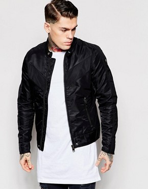 Diesel Biker Jacket J-Red Nylon with Contrast Chevron in Black