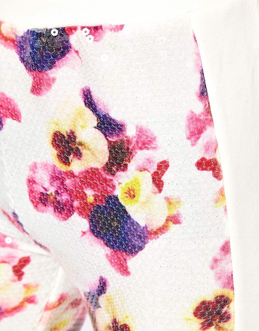 Image 3 ofASOS Premium Leggings in Sequin Pansy Print