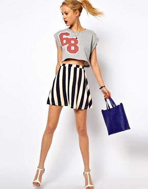Image 1 of ASOS Skater Skirt in Stripe